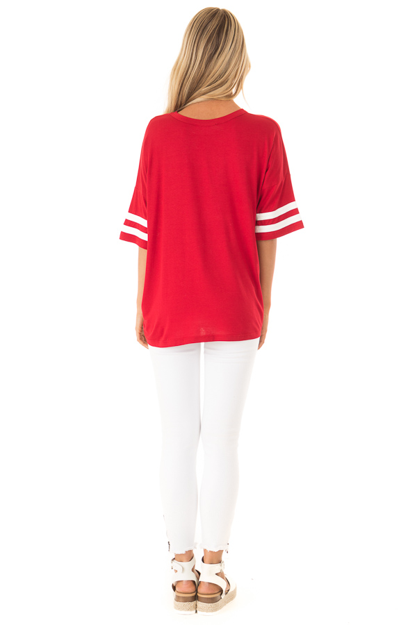 Ruby Red Tee Shirt with White Stripes and Twist Detail back full body