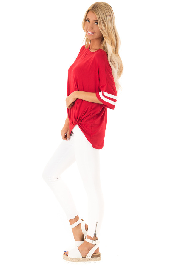 Ruby Red Tee Shirt with White Stripes and Twist Detail side full body