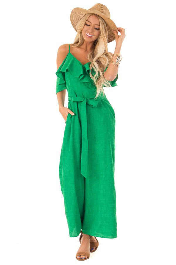Emerald Green Cold Shoulder Ruffled Jumpsuit with Pockets front full body