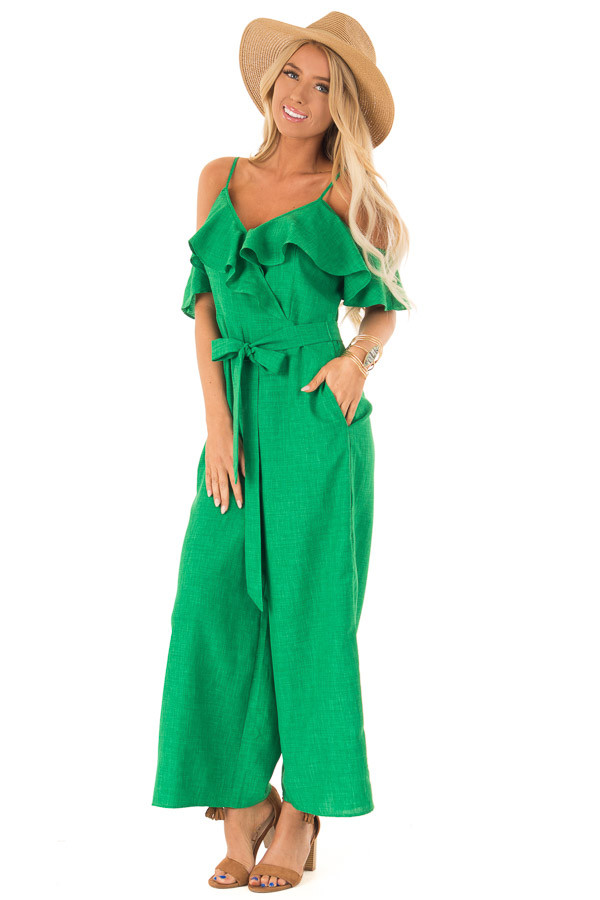 f64c7dc5cd1fe9 Emerald Green Cold Shoulder Ruffled Jumpsuit with Pockets front full body  ...