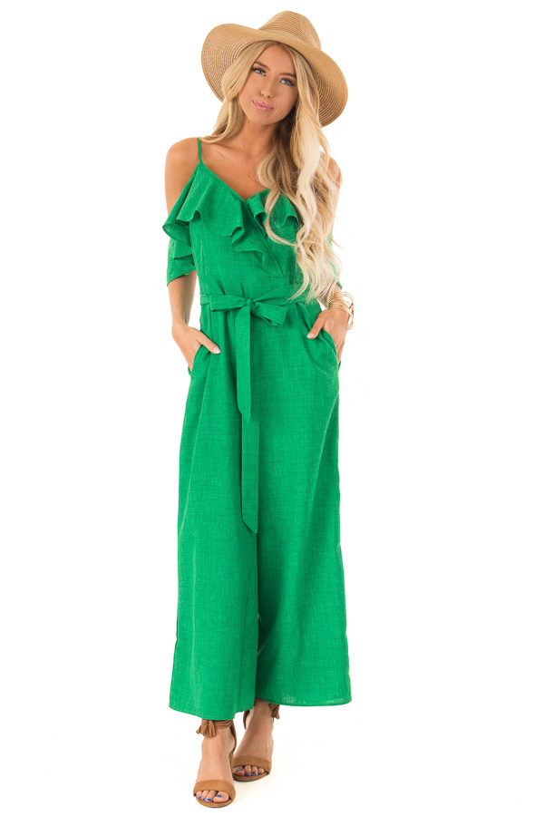 9f77a02a9edf03 Emerald Green Cold Shoulder Ruffled Jumpsuit with Pockets front full body