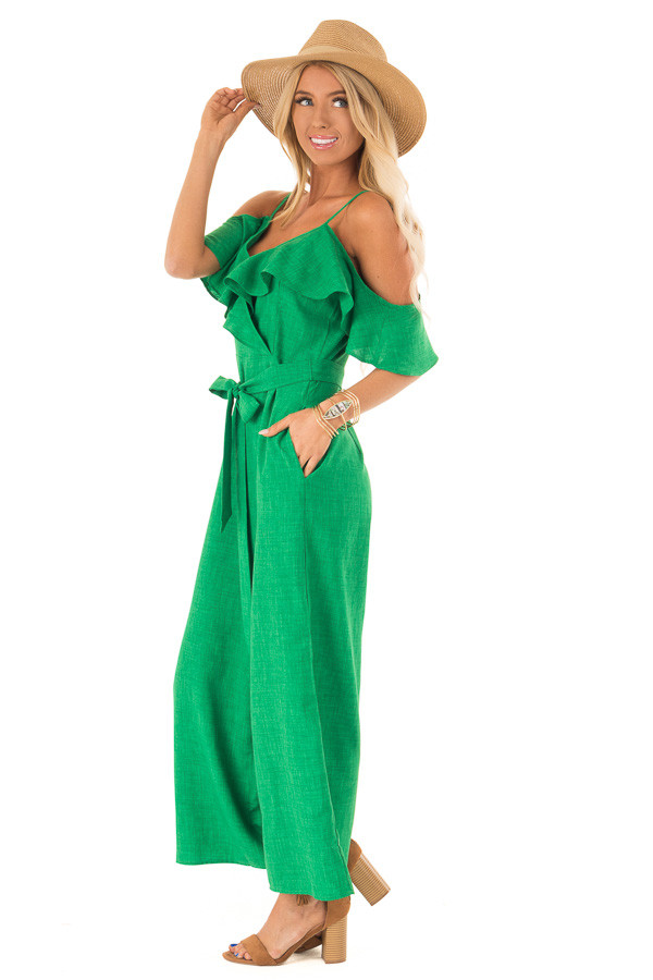 Emerald Green Cold Shoulder Ruffled Jumpsuit with Pockets side full body