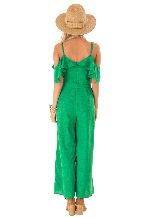 Emerald Green Cold Shoulder Ruffled Jumpsuit with Pockets back full body
