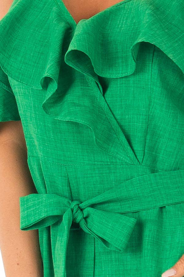 Emerald Green Cold Shoulder Ruffled Jumpsuit with Pockets detail