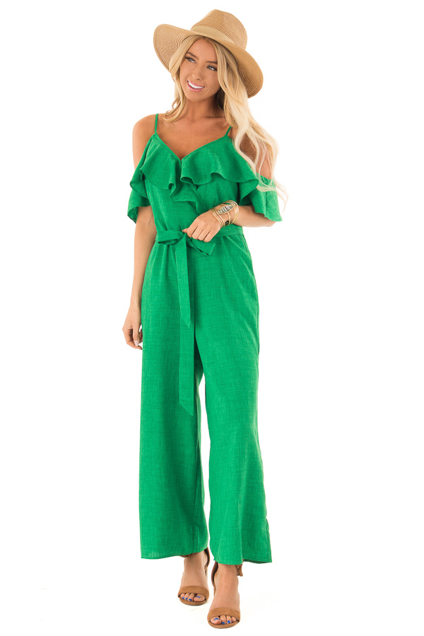 c6b88108d37ee7 ... Emerald Green Cold Shoulder Ruffled Jumpsuit with Pockets front full  body ...
