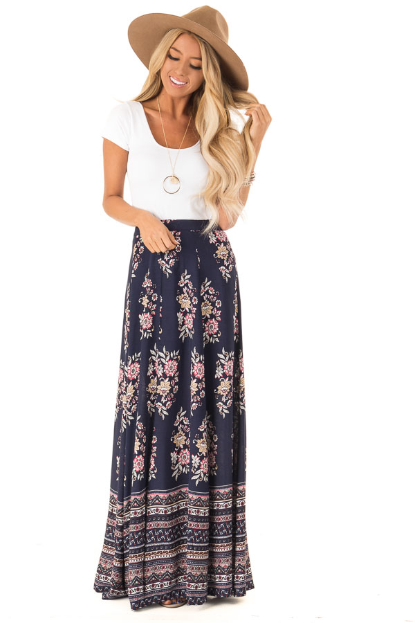 5abbb0ad4 Navy Floral and Paisley Print Flowy Maxi Skirt - Lime Lush Boutique