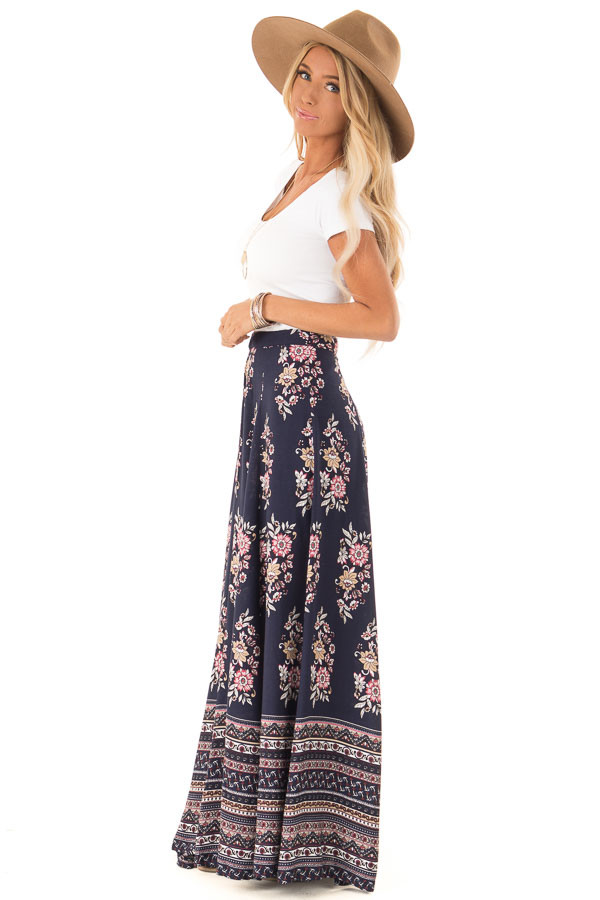 Navy Floral and Paisley Print Flowy Maxi Skirt side full body