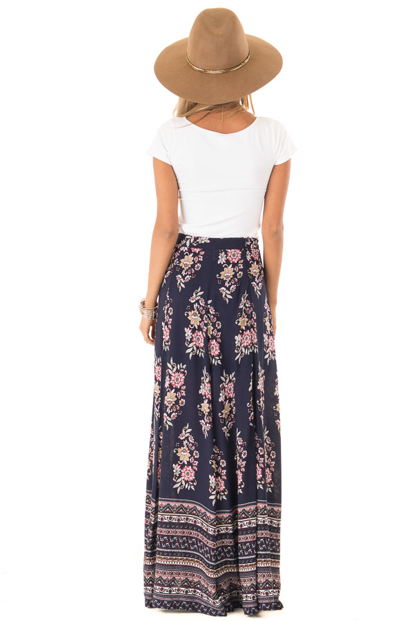Navy Floral and Paisley Print Flowy Maxi Skirt back full body