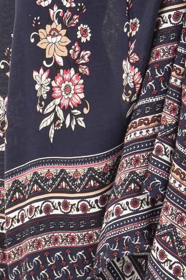 Navy Floral and Paisley Print Flowy Maxi Skirt detail