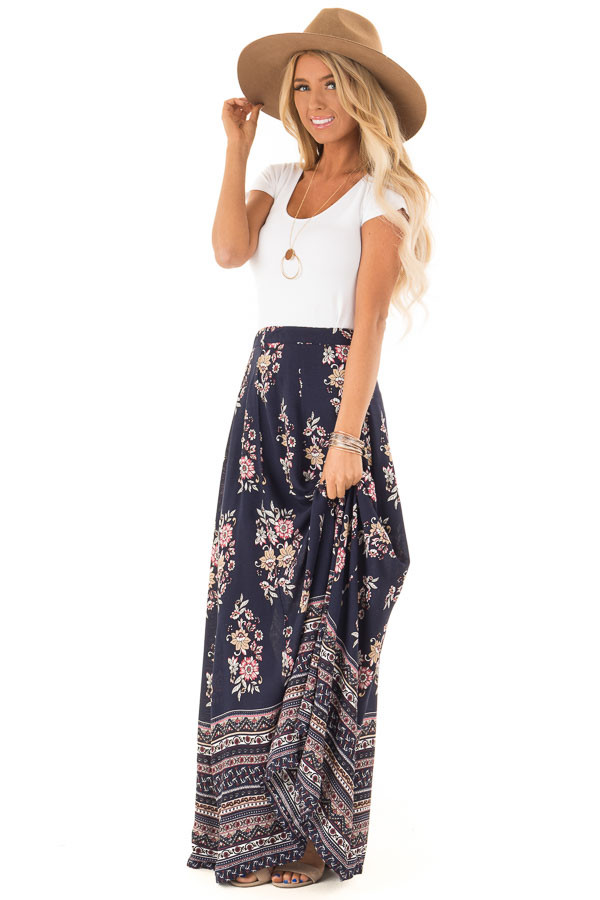 Navy Floral and Paisley Print Flowy Maxi Skirt front full body