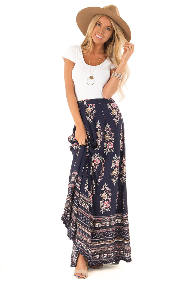 Navy Floral And Paisley Print Flowy Maxi Skirt Lime Lush