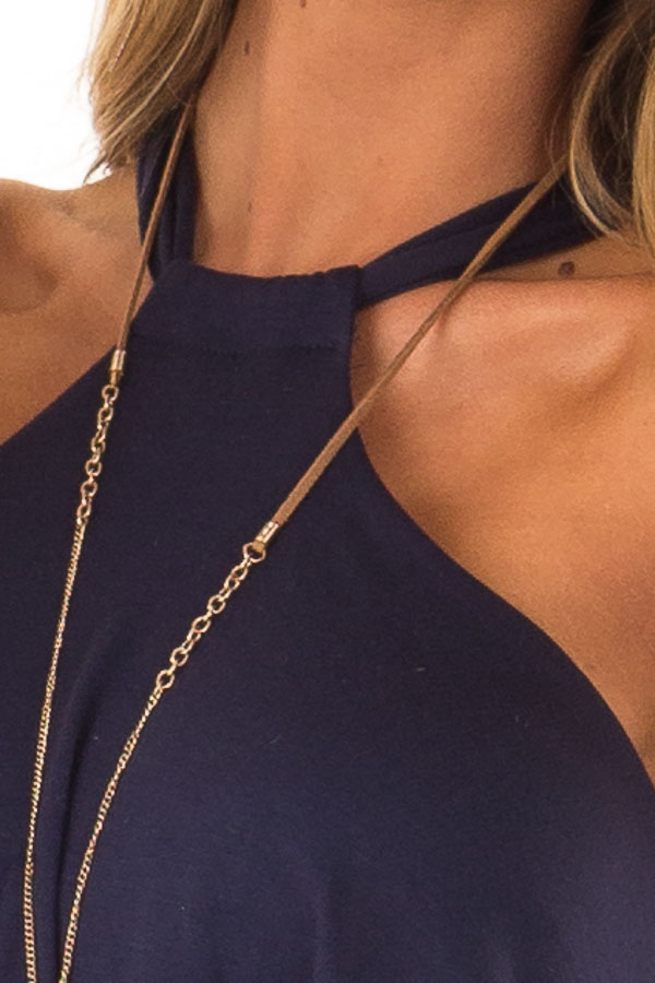 Navy Halter Jumpsuit with Overlay Detail detail