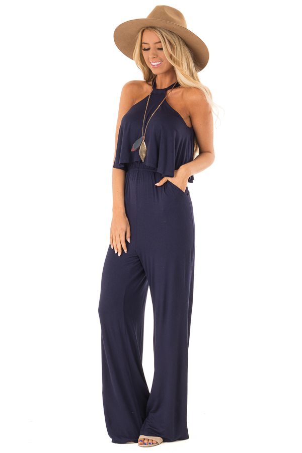 Navy Halter Jumpsuit with Overlay Detail front full body