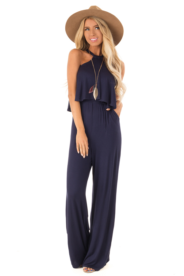 909d284ce34cf Navy Halter Jumpsuit with Overlay Detail - Lime Lush Boutique