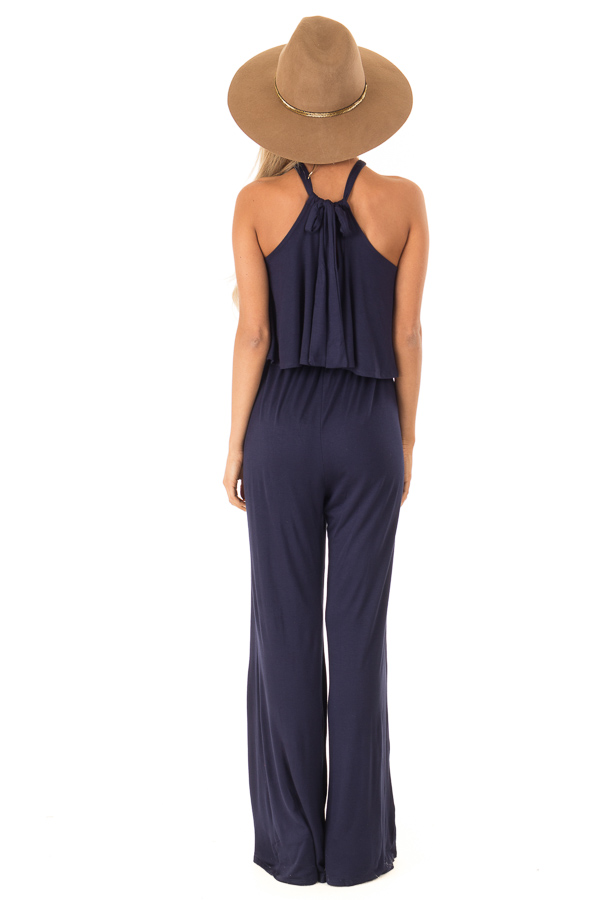 Navy Halter Jumpsuit with Overlay Detail back full body