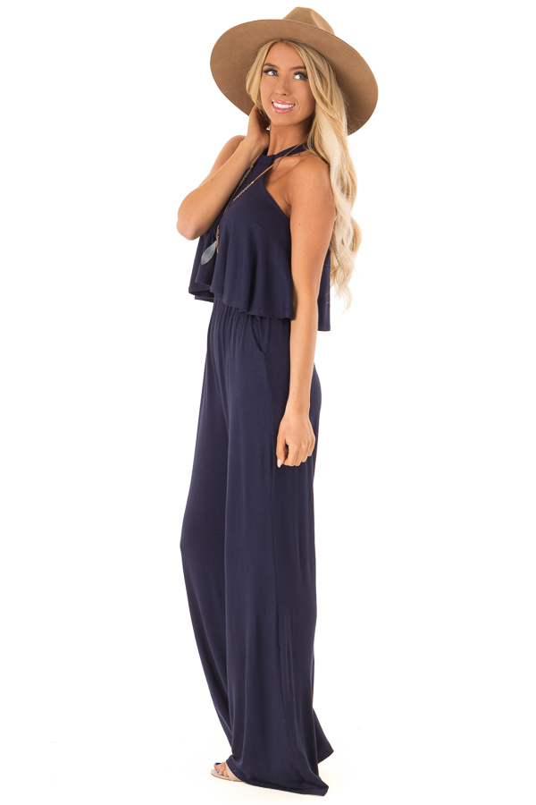 Navy Halter Jumpsuit with Overlay Detail side full body