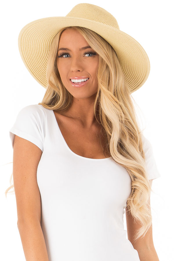 Natural Straw Panama Hat with Metal Band Detail front close up