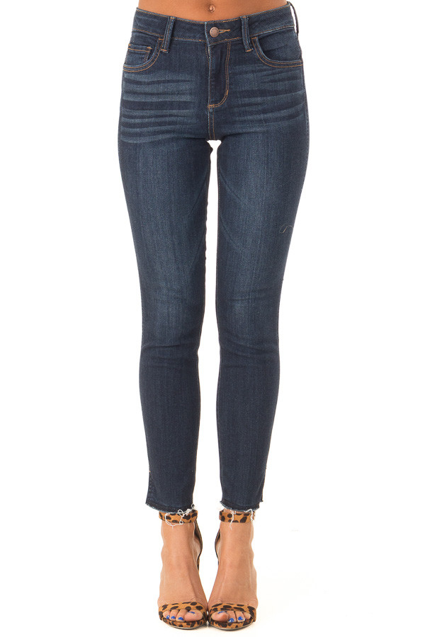Dark Wash Skinny Jeans with Side Slits and Distressed Hem front view