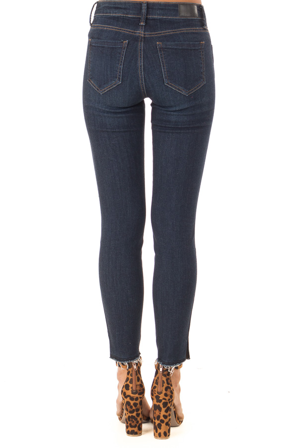 Dark Wash Skinny Jeans with Side Slits and Distressed Hem back view