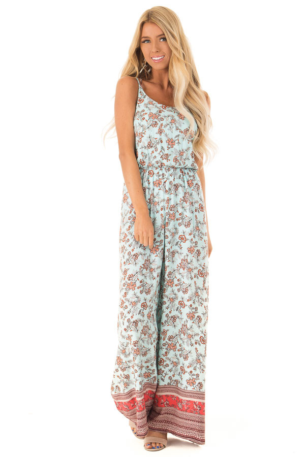 940f5eb845a Light Mint Floral Print Sleeveless Jumpsuit with Pockets - Lime Lush ...