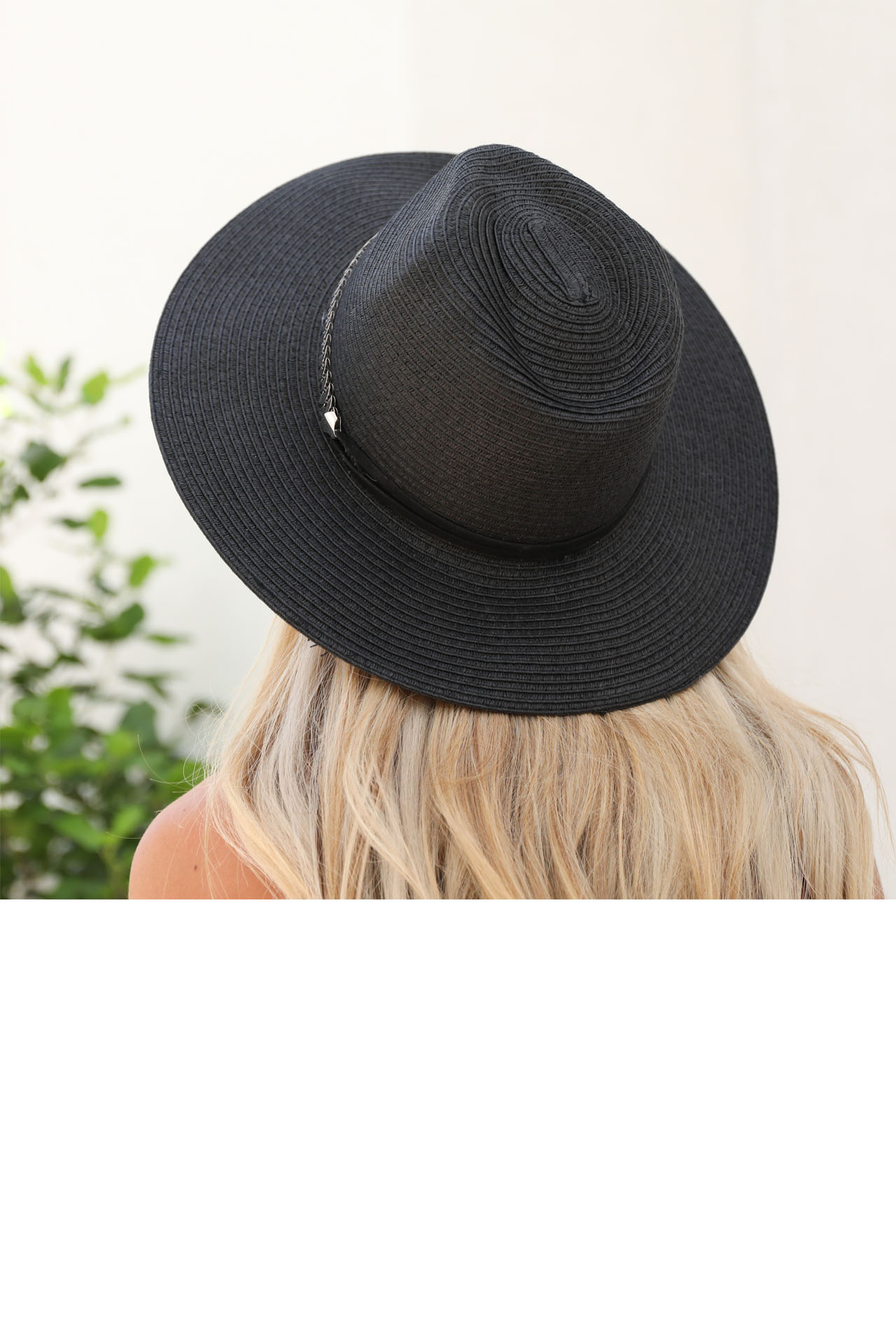 Black Straw Panama Hat with Metal Band Detail back