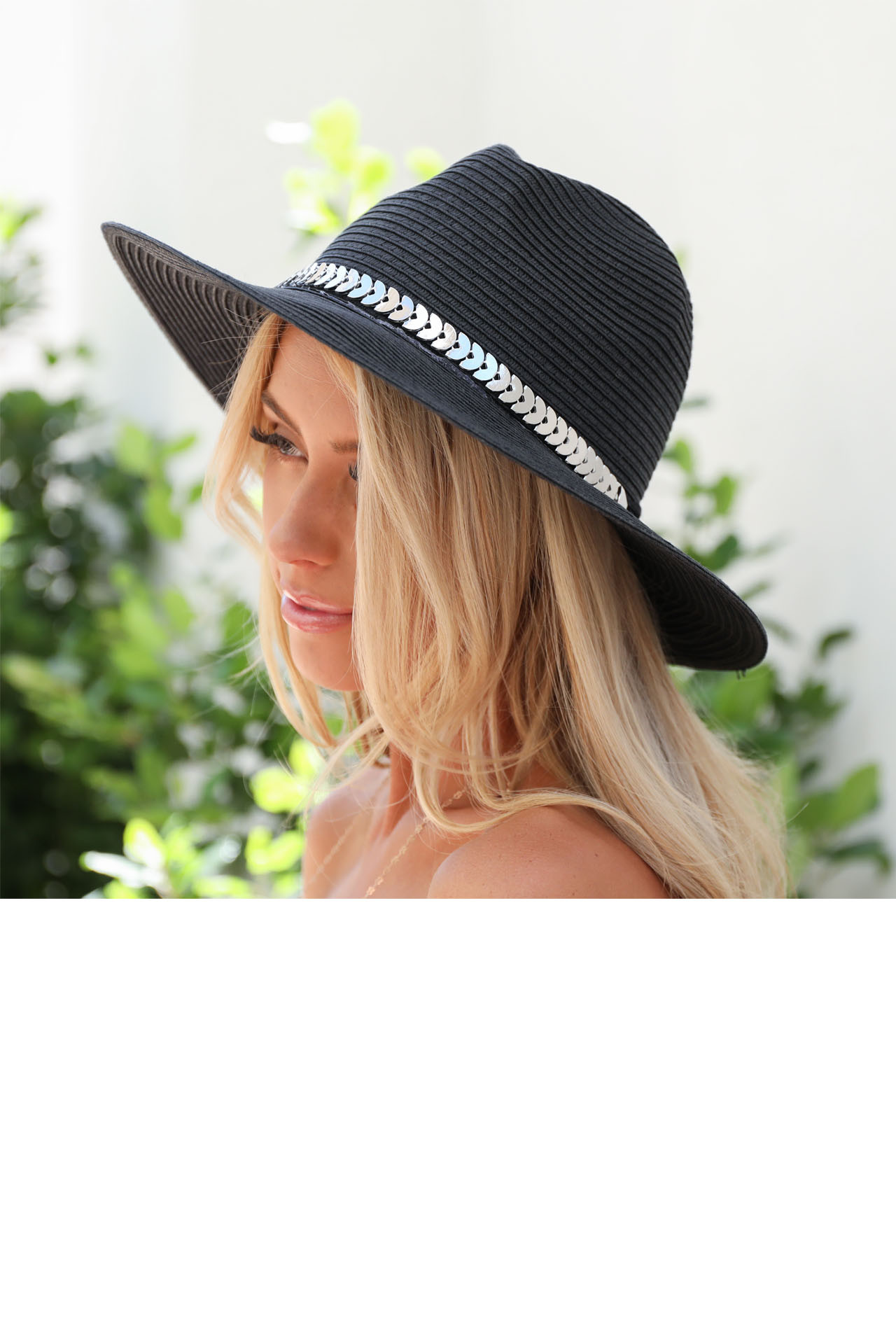 Black Straw Panama Hat with Metal Band Detail side