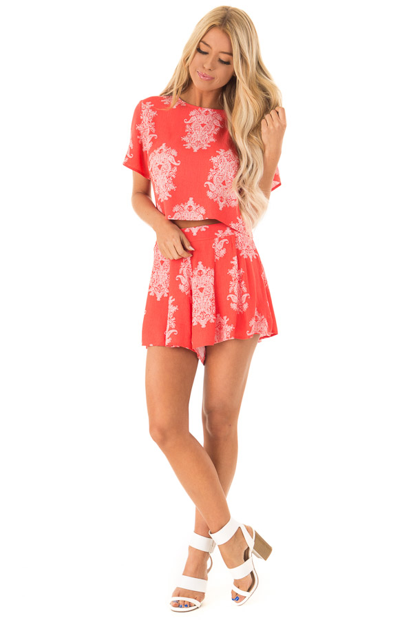 Red Orange Paisley Print Two Piece Set front full body