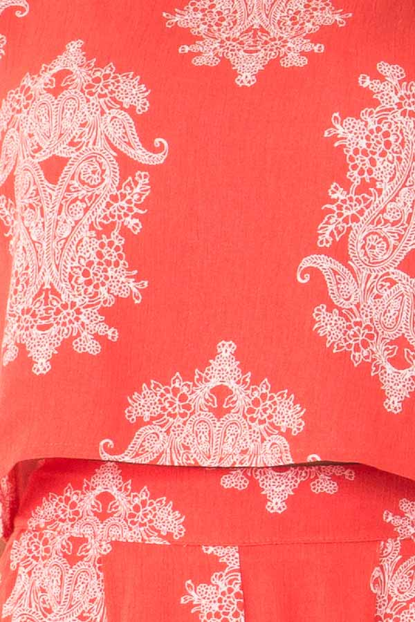 Red Orange Paisley Print Two Piece Set detail