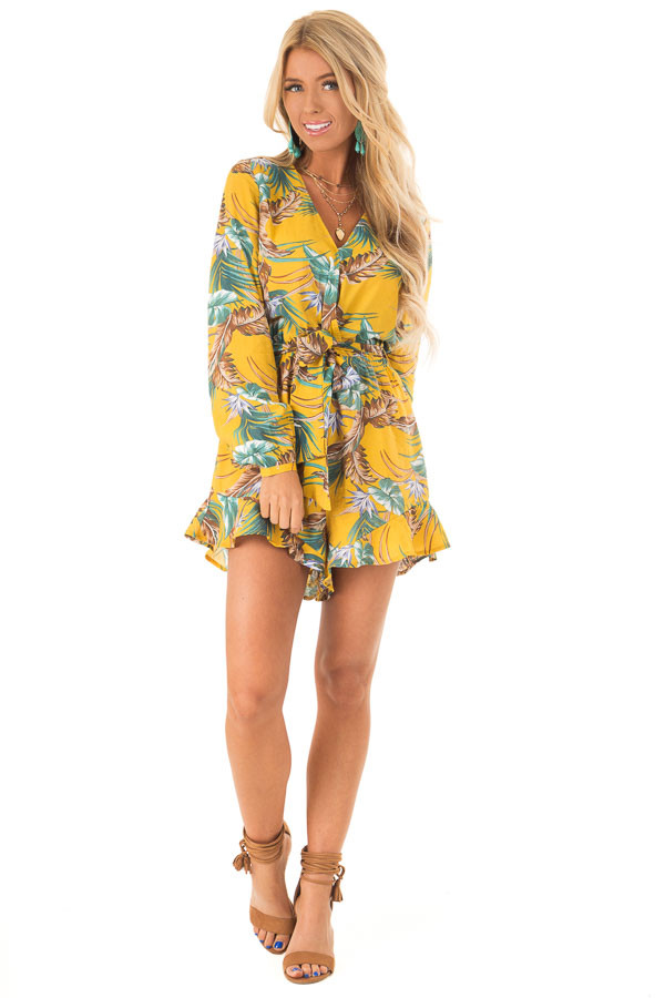 Mustard Multi Tropical Palm Long Sleeve Front Wrap Romper front full body