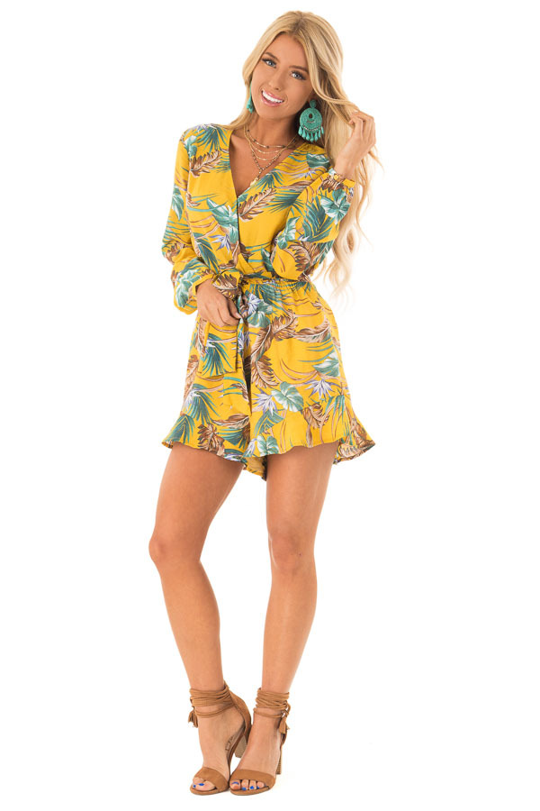 7d2a1f15e1eb ... Mustard Multi Tropical Palm Long Sleeve Front Wrap Romper front full  body ...