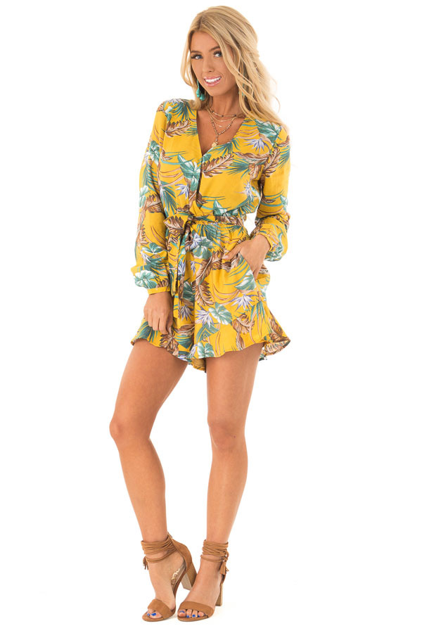24f8c76f83b ... Mustard Multi Tropical Palm Long Sleeve Front Wrap Romper front full  body ...