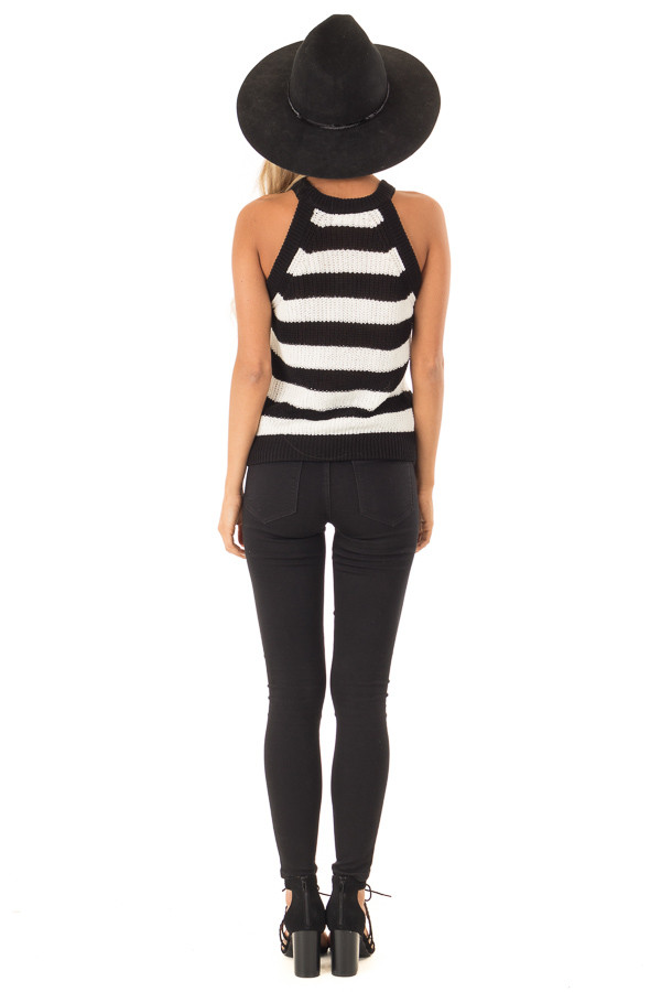 Black And Off White Striped Knit Tank Top Lime Lush Boutique