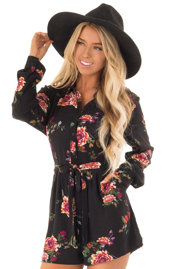 Black Long Sleeve Floral Button Up Romper with Waist Tie front close up