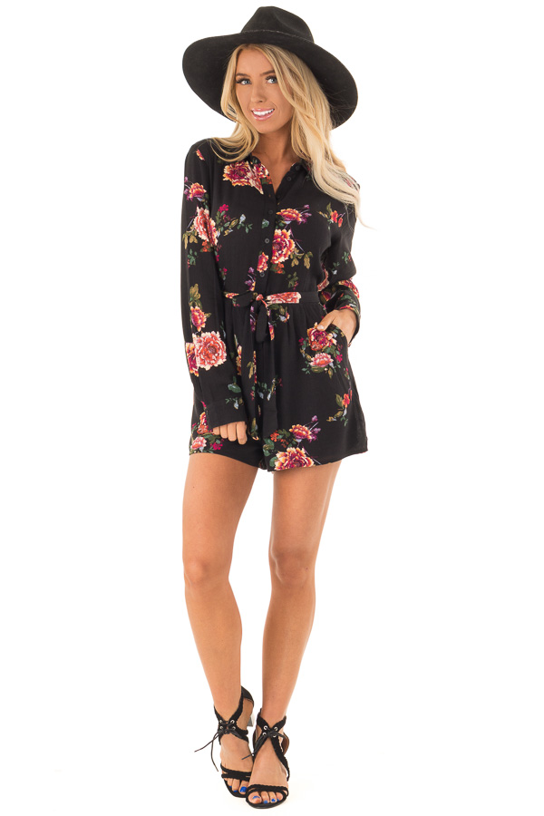 Black Long Sleeve Floral Button Up Romper with Waist Tie front full body
