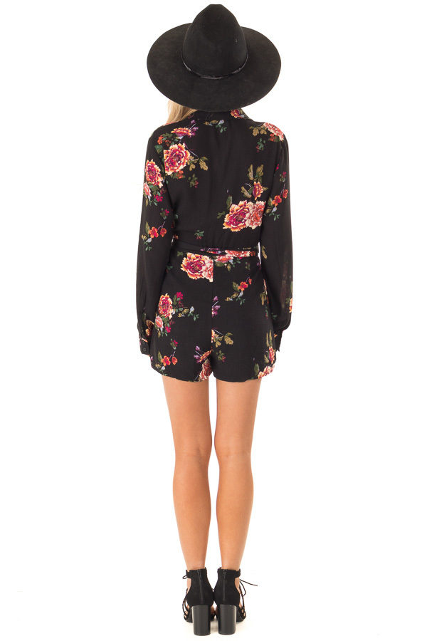 Black Long Sleeve Floral Button Up Romper with Waist Tie back full body
