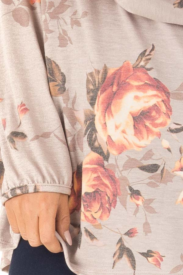 Dusty Mocha Floral Print Round Neck Long Sleeve Top detail