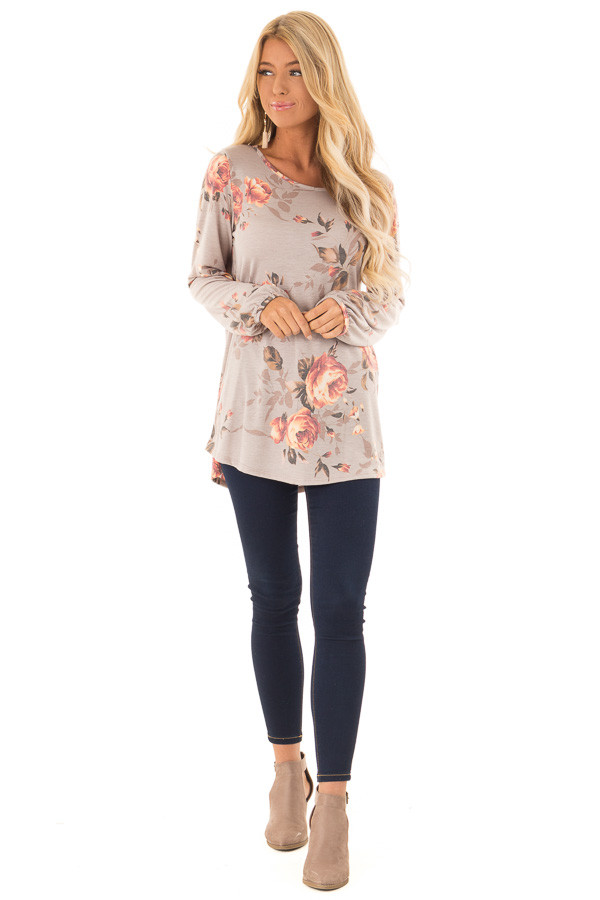Dusty Mocha Floral Print Round Neck Long Sleeve Top front full body
