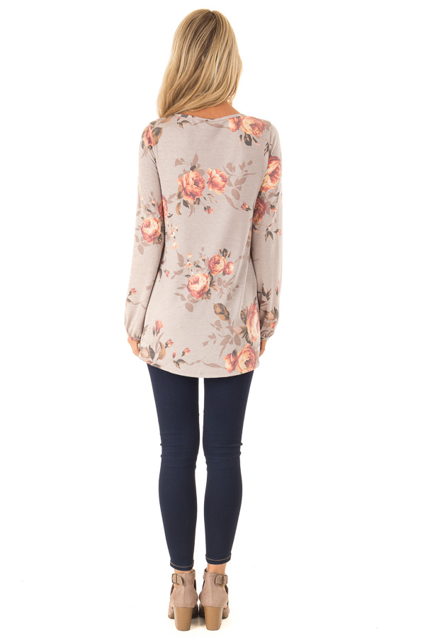 Dusty Mocha Floral Print Round Neck Long Sleeve Top back full body