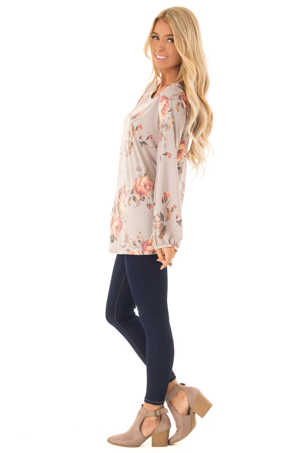 Dusty Mocha Floral Print Round Neck Long Sleeve Top side full body