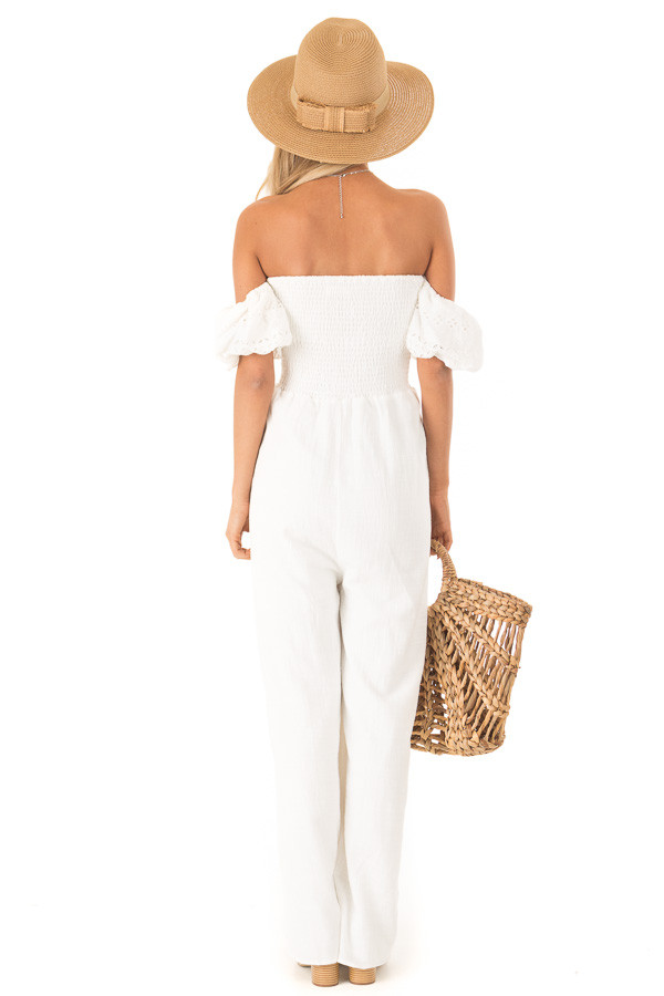 Ivory Off the Shoulder Smocked Jumpsuit with Lace Sleeves back full body