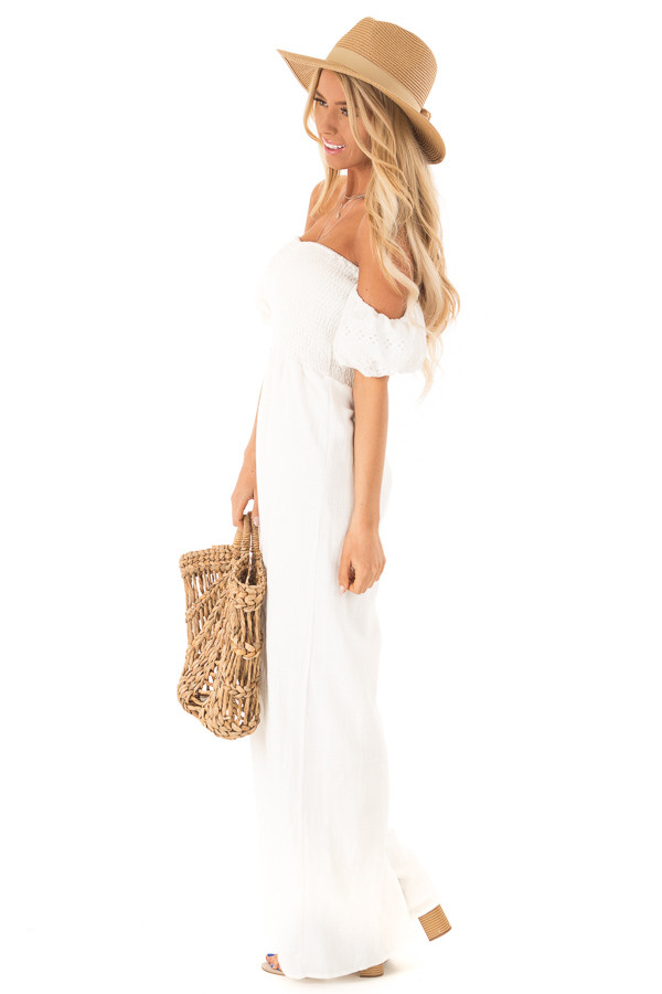 Ivory Off the Shoulder Smocked Jumpsuit with Lace Sleeves side full body