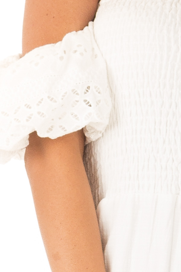 Ivory Off the Shoulder Smocked Jumpsuit with Lace Sleeves detail