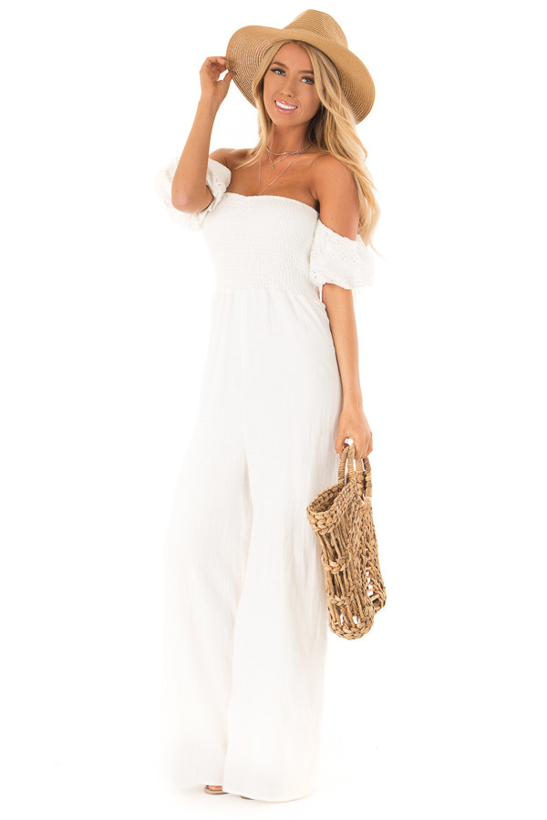 Ivory Off the Shoulder Smocked Jumpsuit with Lace Sleeves front full body