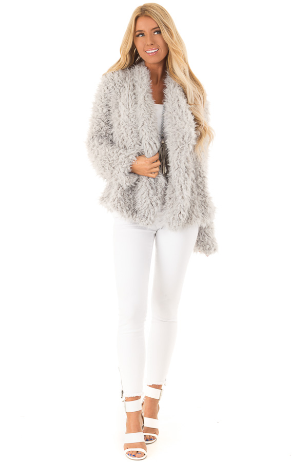 Pale Grey Faux Fur Long Sleeve Jacket with Lapel front full body