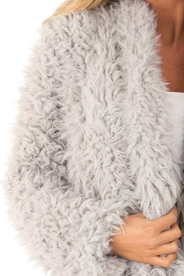Pale Grey Faux Fur Long Sleeve Jacket with Lapel detail