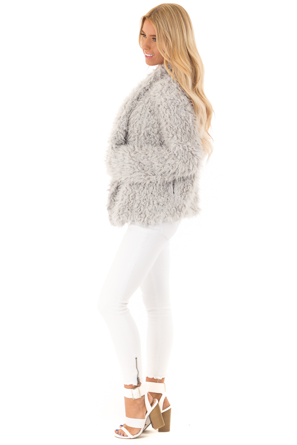 Pale Grey Faux Fur Long Sleeve Jacket with Lapel side full body