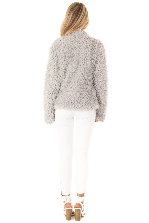 Pale Grey Faux Fur Long Sleeve Jacket with Lapel back full body