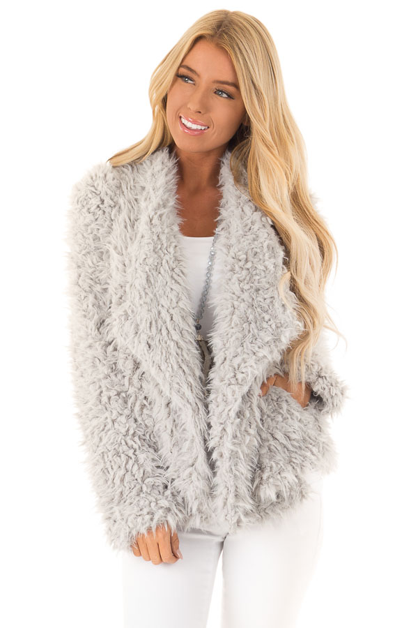 Pale Grey Faux Fur Long Sleeve Jacket with Lapel front close up