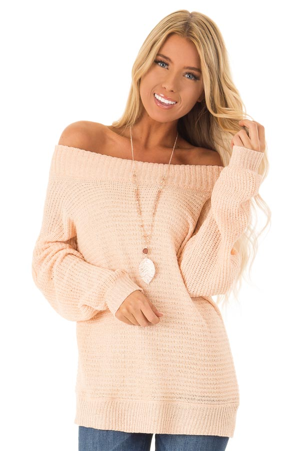 8101f6b4f003a Peach Knit Off the Shoulder Long Sleeve Top - Lime Lush Boutique
