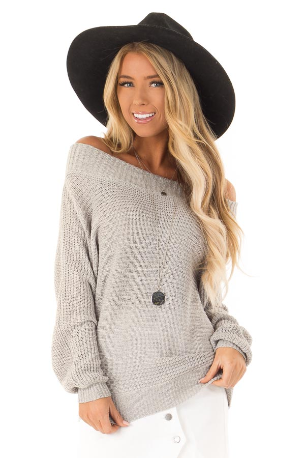 08d06fa5bf93b Heather Grey Knit Off the Shoulder Long Sleeve Top - Lime Lush Boutique